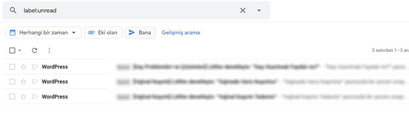 gmail okunmamış postaları bulmak