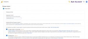 google analytics hesap oluştur