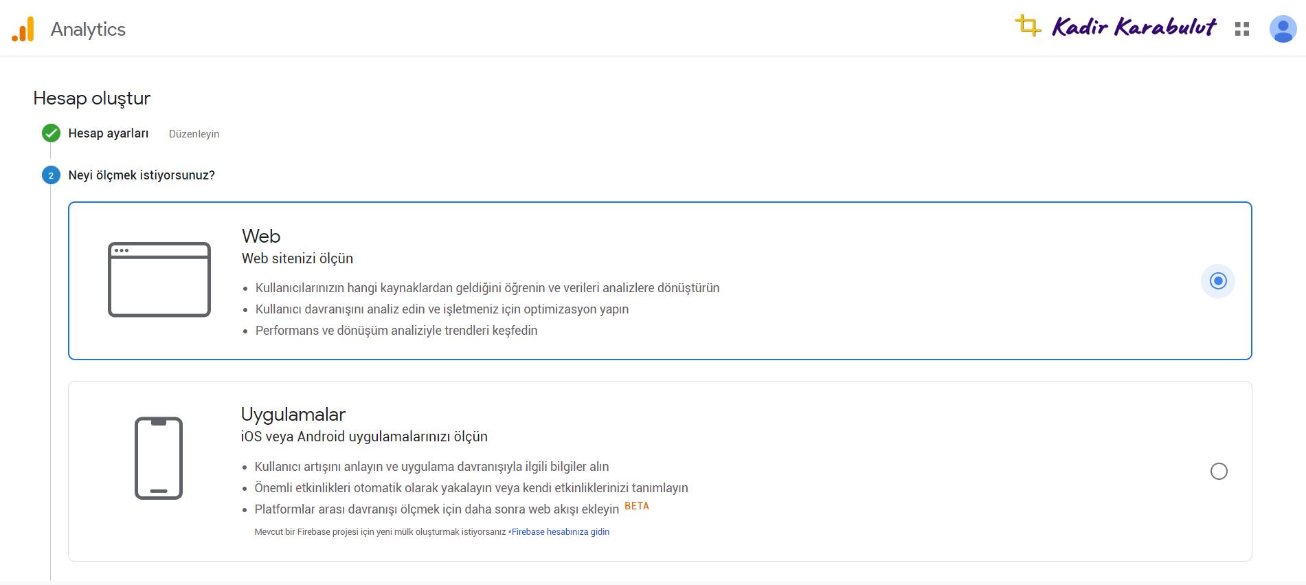 google analytics web sitesi ekleme